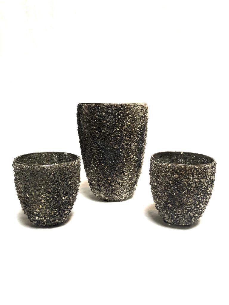 Windlicht glinster steentjes grijze/bruine/zwarte tinten S