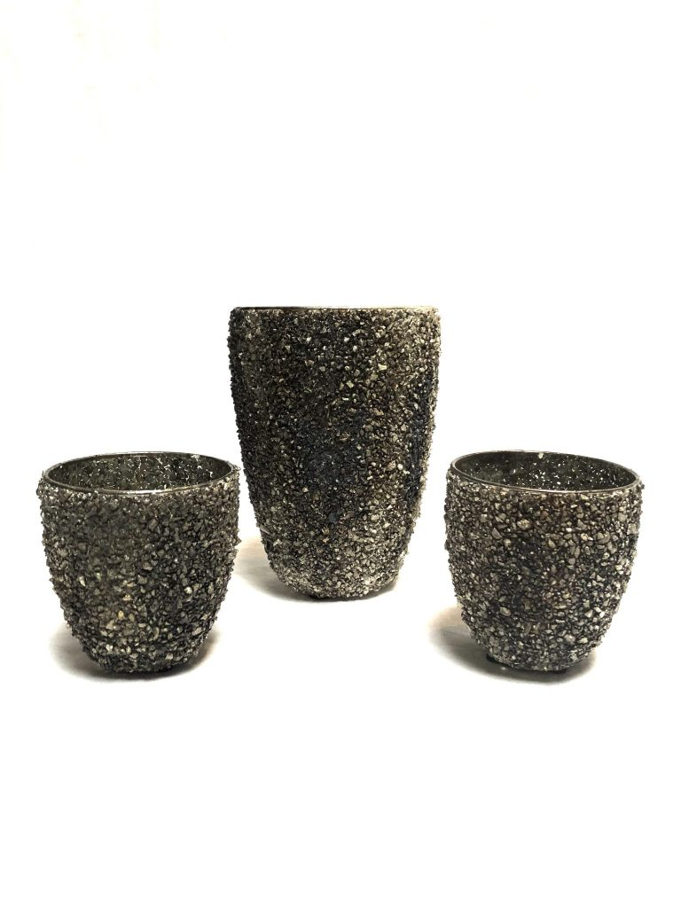 Windlicht glinster steentjes grijze/bruine/zwarte tinten M