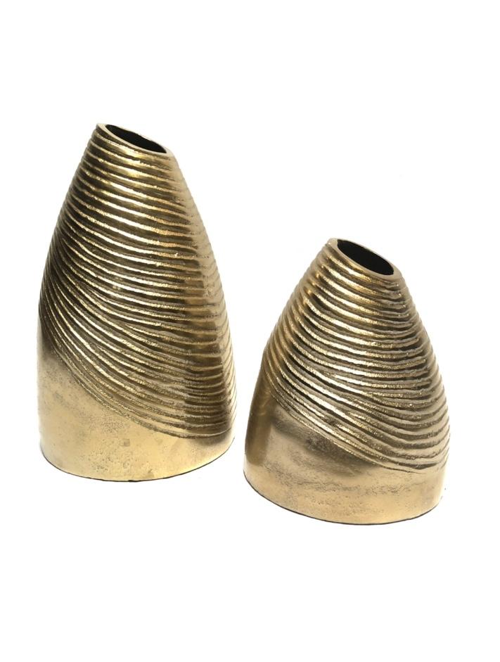 Raw bronze vaas met ribbels S